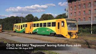 preview picture of video '[120813] CZ - ČD Class 814 diesel multiple unit leaving Kutná Hora město'