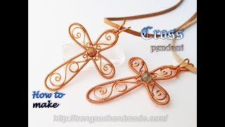 Cross Pendant - Jewelry Ideas For Christmas From Copper Wire 424