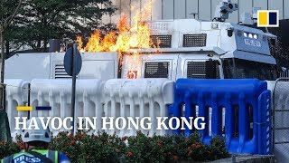 Fires burn in Hong Kong as protesters clash with police