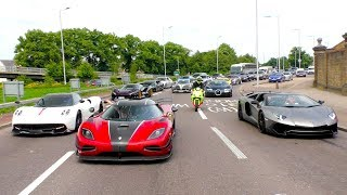 INSANE convoy of SUPERCARS STOP highway traffic!