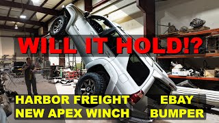 Harbor Freight Apex Winch Hang Test and Offroad Test. Can it Hang a V8 4runner?