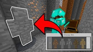 CHANGING SKINS IN GAME in Minecraft PE (I Am Stone Camo Trolling)
