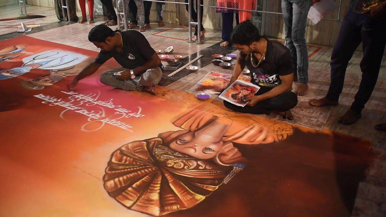 big size portrait rangoli for covid 19 warriors by rohit art