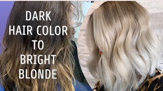 FULL FOIL | Dark Hair Color To Bright Blonde | COLOR CORRECTION & SHADOW ROOT
