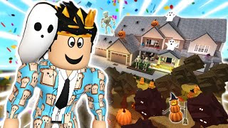 decorating my bloxburg DREAM IRL HOUSE with the NEW UPDATE ITEMS... it spooky