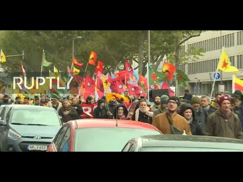 Pro-Kurdish demonstrate in Cologne against Turkish military operation