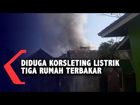 diduga korsleting listrik tiga rumah terbakar