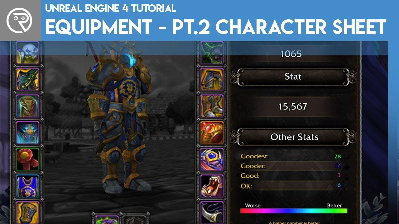 Unreal Engine 4 Tutorial - Equipment - Part 2 Character Sheet