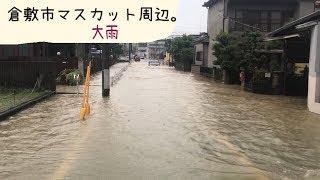 豪雨岡山県倉敷市中庄マスカットスタジアム周辺。