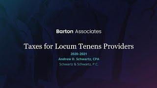 Barton Associates Locum Tenens 2020-2021 Tax Webinar