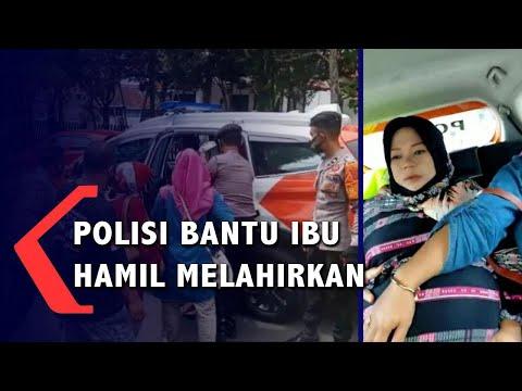 antre bantuan presiden ibu hamil kontraksi dibantu polisi