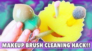 HOW TO CLEAN YOUR MAKEUP BRUSHES | Amazing Brush Cleaning LIFE HACK!!