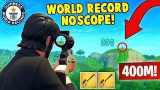 WORLD RECORD NOSCOPE 400M! (Fortnite FAILS & WINS #4)
