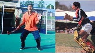 Hockey goal keeping training by first Manipuri Olympian Pangambam Nilakomol   Part 1