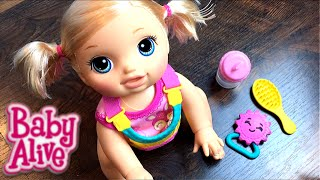 New Crawling Baby Alive Go Bye-Bye Blonde Doll Opening And Feeding