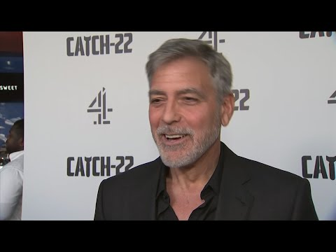 George Clooney joked about his 'Batman' days flashing before his eyes, after a motorcycle accident, while shooting Hulu's 'Catch 22.' (May 15)