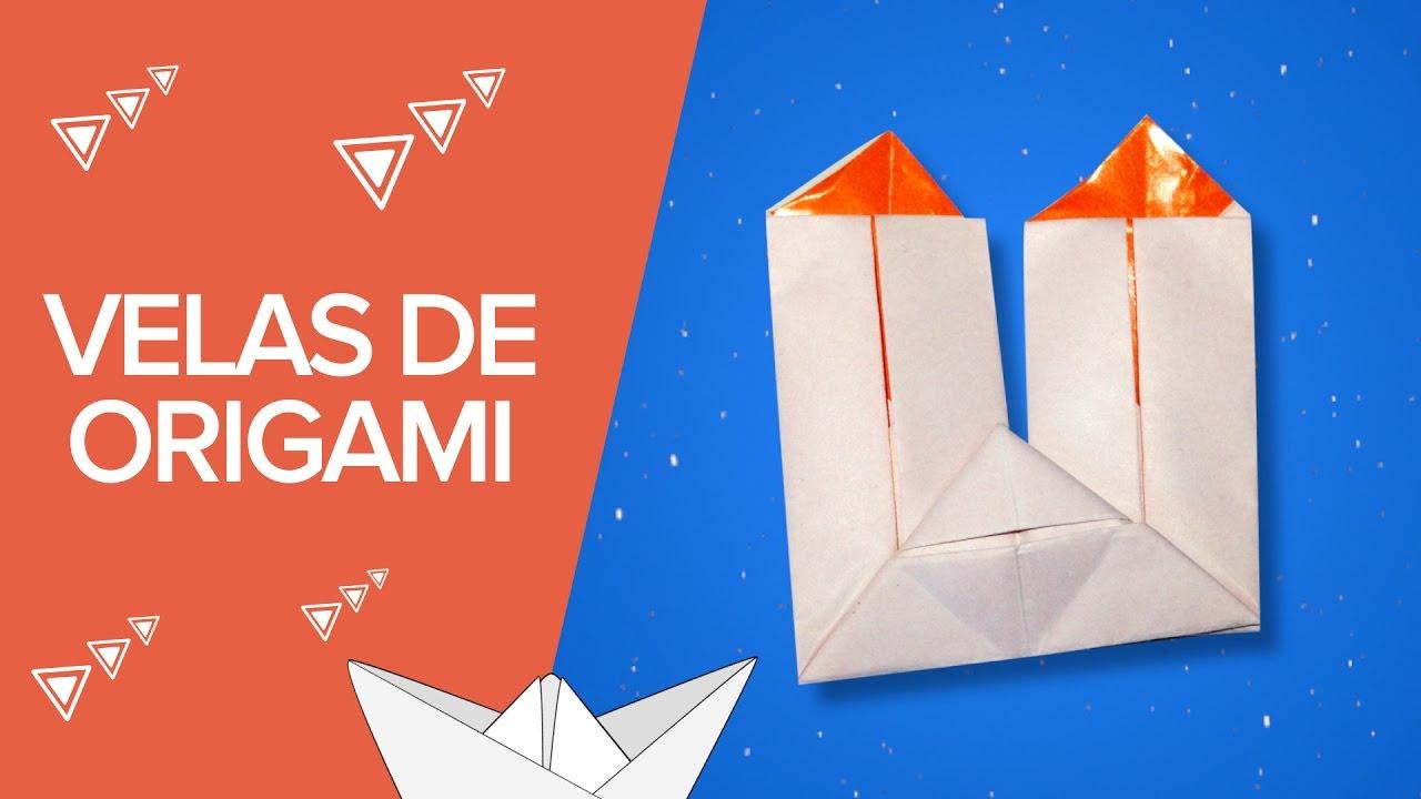 Velas de papel | Origami de Navidad para niños