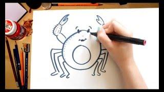 Como dibujar un Cangrejo - dibujos para niños