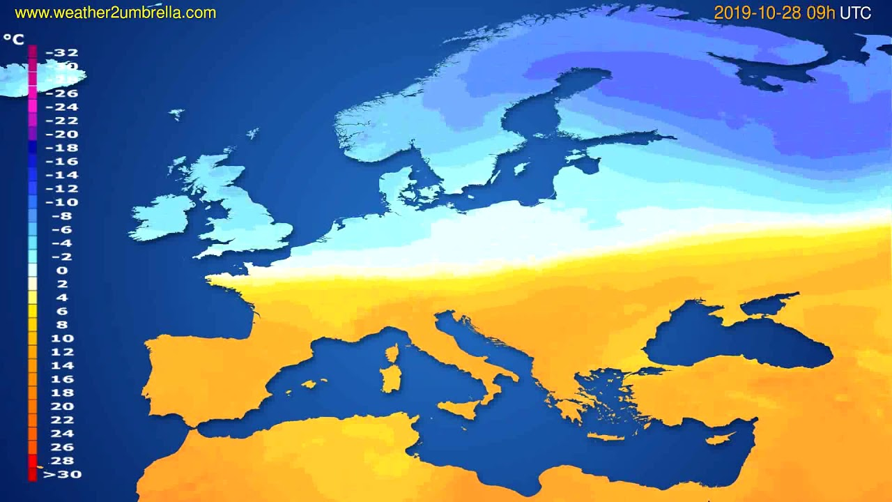 Temperature forecast Europe // modelrun: 00h UTC 2019-10-26