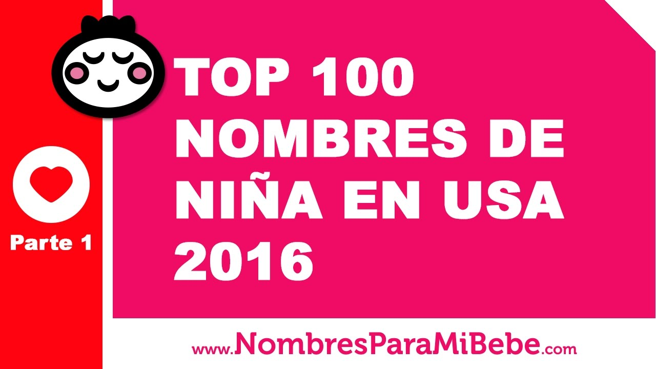 TOP 100 nombres para niñas EE.UU. 2016 - PARTE 1 - www.nombresparamibebe.com