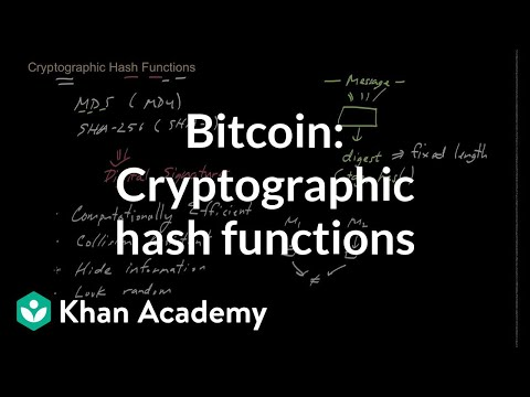 Bitcoin: Cryptographic hash functions (video) | Khan Academy