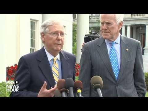 Senate Majority Leader McConnell speaks on GOP health care bill outside White House