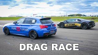 580HP BMW M140i F20 xDrive vs Huracán Evo, BMW M5 F90, Audi RS6, Nissan GT-R R35 | 1/2 Mile DragRace