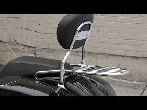 Sissy Bar Luggage Rack, Chrome - Image 1 of 6 - Product Video