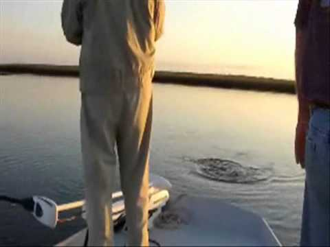 Neil and Charlies catching redfish in Carolina Beach, NC, onboard the Redfish Explorer.