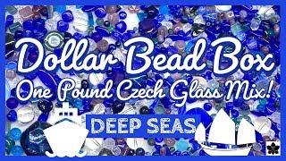 🌊🌊🌊ONE POUND Czech Glass BEAD MIX REVEAL 🚢#4 DEEP SEA 🛳Dollar Bead Box | Beaded Jewelry Making
