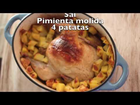 Pollo al limón en olla de hierro fundido