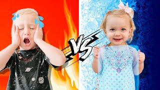 HOT vs COLD Challenge!!! LEVI vs IVY!!
