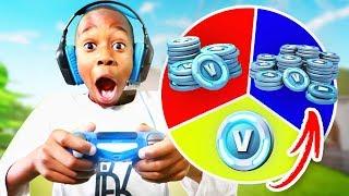 9 Year Old Kid WINS 10,000 V BUCKS In 1 Kill = 1 Spin Challenge! (Wheel Of Fortnite)