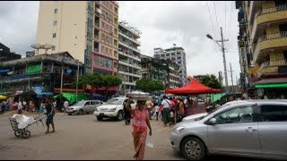 Yangon Downtown lively streets. Myanmar