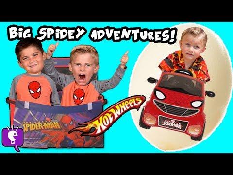 SPIDER EGGS! TOY HUNT, Kids Adventure Show! Biggest Spiderman Eggs HobbyKidsTV