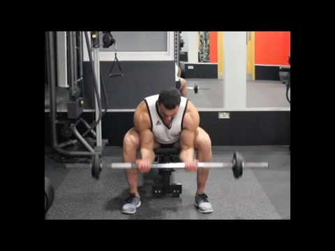 Seated Close-Grip Concentration Barbell Curl