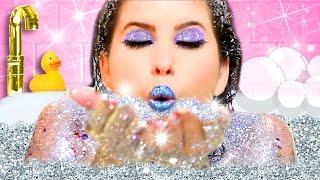 GLITTER BATH CHALLENGE, MAKEUP & DIYS! | I BATHE IN GLITTER SOAP, SHAMPOO & BATH BOMB!