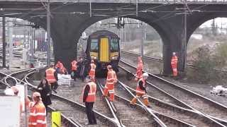 preview picture of video 'Pantograph strike at Bedford 05/03/14'