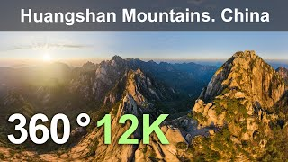 Huangshan mountains, China. Teaser. Virtual travel. Aerial 360 video in 12K