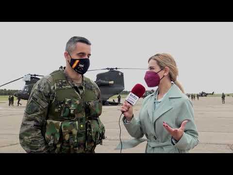 """Cte. P. Rolán: """"Es la primera vez que un ejercicio de asalto aéreo se realiza dentro de la Div. San Maricial"""""""