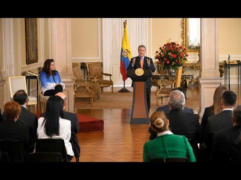 Presidente Duque durante la firma de la ley que crea el Programa de Tamizaje Neonatal en Colombia