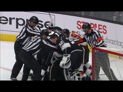 Flames and Kings put officials to work as both teams lose their cool late in the game
