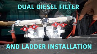 Vetus dual diesel fuel filter and boarding ladder installation