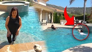 MY DOG DROWNING PRANK!! (MOM FREAKS OUT)