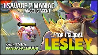 1 SAVAGE 2 MANIAC Lesley Angelic Agent By PANDA FACEBOOK Top 1 Global Lesley   Mobile Legends