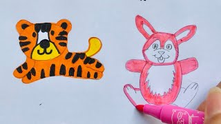 Drawing and painting animals turtle, pig, fox, tiger, rabbit, tree, ...
