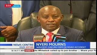 Nyeri governor, Mutahi Kahiga addresses the media