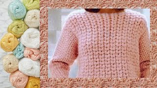 МК . Вязание крючком. Розовый джемпер. Узор.