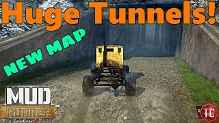 SpinTires Mud Runner: NEW Map w/ ALL Custom Buildings, Underground Sections, and Tunnels!