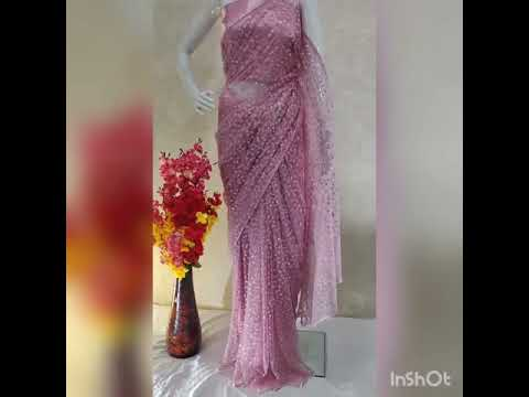 Glitter & Pearl work Mono Net Pink Sarees
